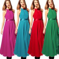 Hot-selling fashion irregular expansion bottom sleeveless chiffon full dress elegant strapless long formal dress one-piece dress
