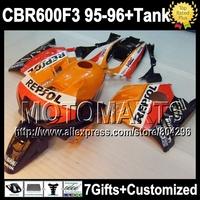 7gifts  For HONDA CBR600F3 Repsol Orange red CBR 600F3 95 96 CBR600 F3 FS 7Y1777 CBR 600 F3 95-96 1995 1996 HOT Fairing Kit