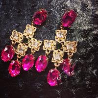 2014 new America Rose cross earrings temperament exaggerated earrings