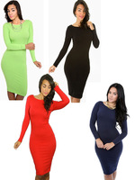Women Dresses Autumn Winter Hot Sale O-neck Knee-length Full Sleeve Bodycon Pencil Party Cocktail Size S M L XL XXL
