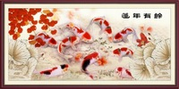 Printing cross-stitch Lotus more years (luck) version of the carp 173x73cm(476)