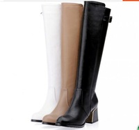 New 2014 hot-selling martin boots thick heel zipper tall boots soft leather motorcycle boots plus size 35-43 female shoes