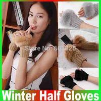 Gloves Women Promotion New Arrival Solid free 2014 Han Edition Available Joker Winter Half Gloves Knitting Warm Imitation Rabbit
