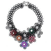 autumn multi color flower black chain necklace for women fashion 2014 newest design brand statement choker necklace
