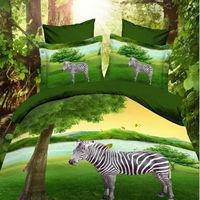 3d Zebra printing green bedding set queen size bedclothes Duvet/Doona/Comforter/Quilt cover sheets pillowcase 4pc bed sets