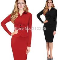 Freeship Top Quality 5T5109 S M,L XL,XXL 2014 New Women OL Work Dress Long Sleeve Brand Fashion Lady Dress Butterfly Party Dress