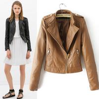 2014 new autumn and winter leather jacket women golden epaulets waist zipper leather motorcycle coat jaqueta de couro feminina