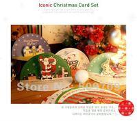 12Set Christmas Holiday Card Set, Santa Claus Mini Card with Envelope Free Shipping wholesale
