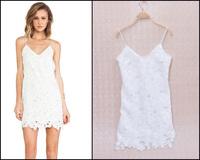 Women Fashion Elegant All White Spaghetti Strap V-Neck Deep V-back Floral Crochet Slip Cami Dress Sundress