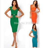 Freeship Top Quality 5T5117 S M,L XL,XXL 2014 New Women OL Pencil Dress Solid Brand Fashion Lady Dress Evening Party Dress