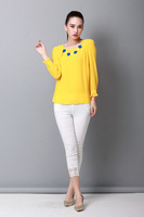 Free shipping Autumn Black White Yellow Women Solid O-Neck Long Sleeve Chiffon Blouse Under Shirt M/L/XL