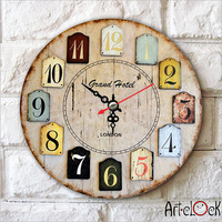 Retro Canvas Numbers Specialized living room bedroom  Needle Round Lock Wall art hang Quartz Art Clock Picture WC005