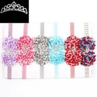Baby waves stripe flower headband Infant chevron headbands Baby girls hair accessories 10pcs/lot HB290