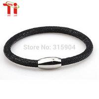 Exclusive design 2014 Black Shagreen Sting Skin Bracelet  Genuine Stingray Leather Bracelet