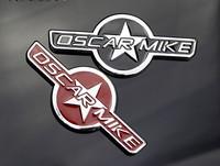 Black Oscar Mike Star Emlam logo Aluminum Metal Decals Car Rear Stickers For SUV WrangLer Compass