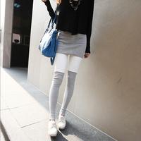 The new autumn and winter fashion bag skirt stitching leggings Korean Slim leisure feet nine points leggings wholesale