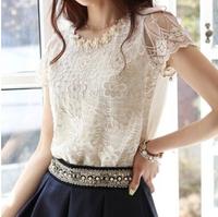 Cheapest New 2014 Summer new Korean Women Slim round neck short sleeve chiffon lace shirt Blouse shirts tops