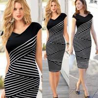2014 new summer Women Pinup Celeb Striped Tunic Party Wear To Work Sheath Shift Pencil Dress LYQ9813