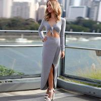 New arrival, High quality! Fashion v-neck long sleeve asymmetrica Dress, Clubbing Dresses, One Size, DL6718