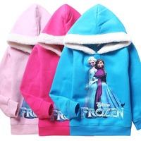 3 colors 2014 New Autumn Frozen Hoodies Fashion Princess Girls Hoodies Girls Coat Winter Outerwear 5 pcs / lot 61123