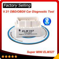 2014 Top selling SUPER MINI ELM327 Bluetooth OBD2 V2.1 White Smart Car Diagnostic Interface ELM 327 Wireless Scan Tool