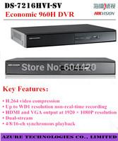 DS-7216HVI-SV,Original Hikvision 16 Channel DVR,WD1 Resolution,H.264,4TB,VGA Output 1920*1080P,Dual-stream,Economic 16CH DVR