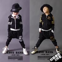 Children's Unisex Spring Autumn New Fashion Cotton Long Sleeve Coats + Harem Pants Black Grey Hip-hop Boy Girls Clothing Set