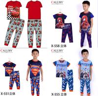 Boys Superman Spider-Man Snowman Clothing Set Kids Autumn -Summer  Short Sleeve Pajamas New 2014 Children 2-7Y Cartoon Pyjamas