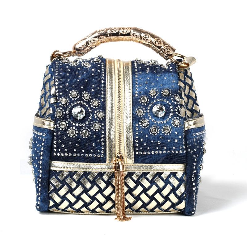 Wholesale leisure woman bags denim jean women messenger bag rivets rhinestone lady's handbag Zitong brand(China (Mainland))