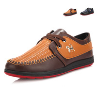 Fashion Mens PU leather Shoes Red Bottom Flats Men Cheap Casual Rubber Bussiness Shoes 2014 Autumn Spring