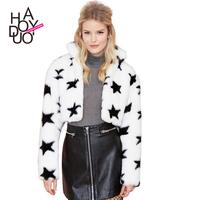 Cute star pattern thickening imitation fur jacket Plush warm motorcycle jacket haoduoyi