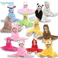 Retail 13 Designs Baby Boys Girls Hooded Animal modeling Cloak Children Cartoon Bathrobe Towel Kid's Coral Velvet Bath Towels