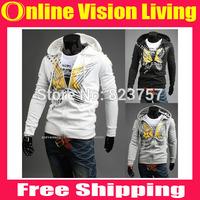 Free Ship autumn&winter Fashion Men's long sleeve Printing Stars Hoodies&Sweatshirts mens casual slim Zipper Sport Clothes A0629