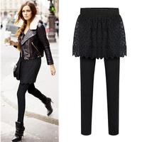 2014 Newest European Plus Size Black Warm Leggings Fake Two-piece Elastic Waist Lace Spliced Women Pants 6672