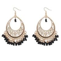 Fashion 18K gold earrings hot hollow beads tassel drop earrings Bohemian 110447