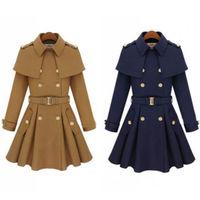 Vintage WOMEN WOOL winter warm Blue Long wool cotton coat trench dress outwear with belt buttons epaulet