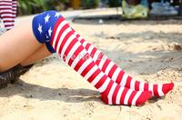 Women long hip-hop JAZZ socks flag striped stockings pentacle long-barreled high socks knee socks  9417
