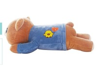 lovely happy bear toy lying easily bear doll blue clothes bear toy gift about 75cm