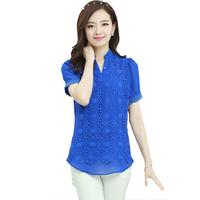 Modern Stylish Chiffon Short Sleeve Summer Blusas Femininas 2014 Korean Lace Hollow Out Patchwork Women Shirt 6013