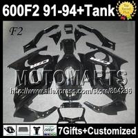+Tank ALL Black For 1992 1993 HONDA CBR 600F2 91 92 93 94 Glossy black CBR600 CBR 600 F2 4Y1829 1991 1994 CBR600F2 Fairing&