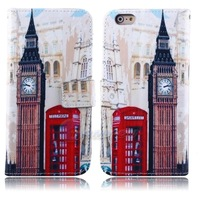 Big Ben For iPhone 6 5.5'' Stand Wallet Paris Tower Leather Skin Card Slot Flip Case Cover For iPhone 6 Plus Butterfly Flower