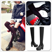 2014 winter  thick heel stretch lady leather boots fashion