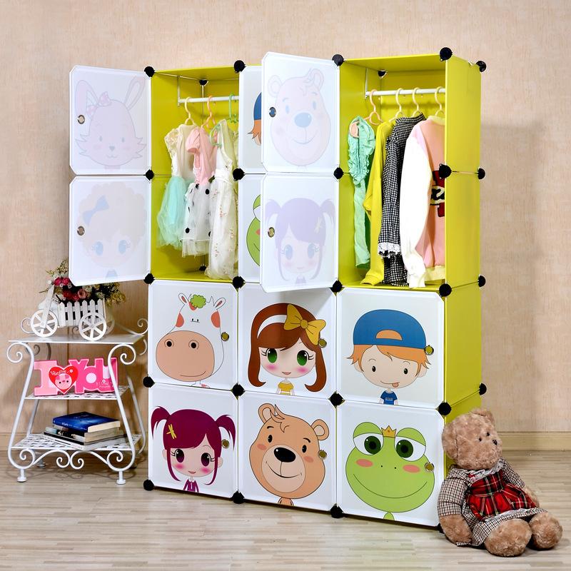 16 cubes Children's cartoon simple cabinet assembled DIY kids closet organizer childrens wardrobe(China (Mainland))
