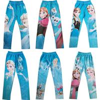 New Arrival 2014 Baby Girls Frozen Leggings Kids Frozen Pants 2-7 Year Girl Frozen Leggings Elsa Pants Elastic waist leggings