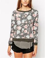 New Fashion Ladies' elegant Peony floral print sports pullovers blouses Casual slim O neck long Sleeve Sweatshirts  brand Tops