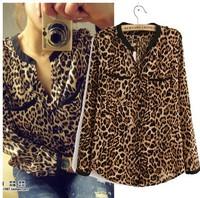 Hot Sale Shirt Women Clothing 2014 New Fashion Women Blouses Autumn Chiffon Blouse Long Sleeve pocket Leopard Women Top