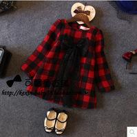 RQQ  wholesale autumn new girls praid lace bow thickened wool dress girls clothing next girls L7130 Christmas