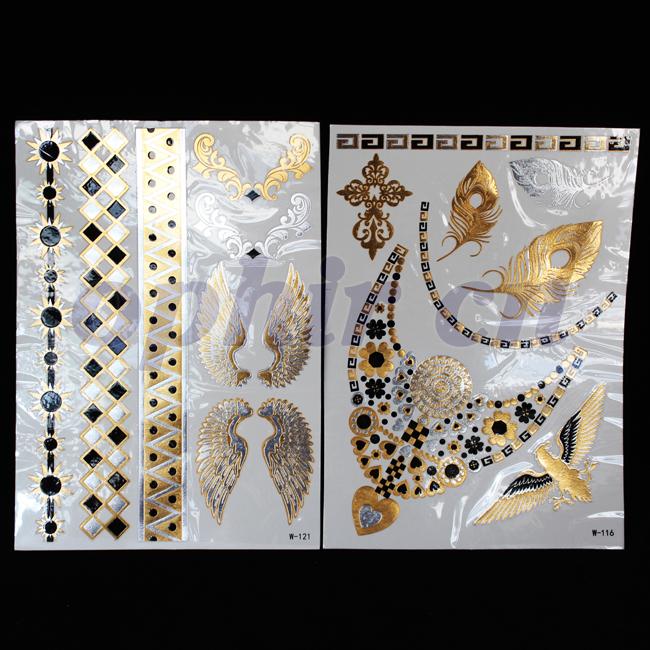 2014 OPHIR Black & Silver & Gold Tattoos Jewelry Design Metallic Texture Flash Temporary Tattoo Stickers Body Art #MT019H+MT020H(China (Mainland))