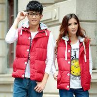 Factory direct sales fall 2014 fashion leisure Lapel hooded cotton vest couples dress cotton vest