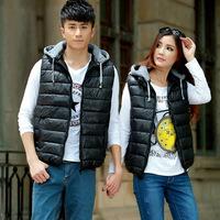 Vest winter female fashion classic leisure collar 2014 Winter hooded cotton vest couples dress cotton vest